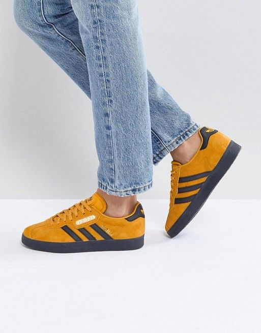 0af183e8d16d adidas Originals Gazelle Super Sneakers In Yellow With Dark Gum ...