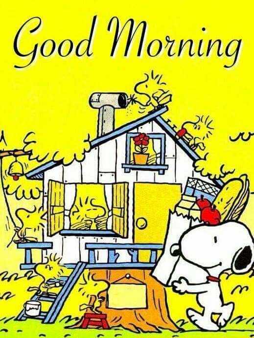 Good Morning - Snoopy Carrying Groceries to the Treehouse That Woodstock and Friends Are Working On