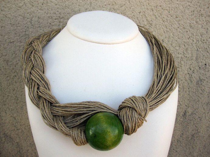 Wood Necklace Natural Linen Eco-Friendly Knots Braid Green Orange Brown Bead XL Mediterranean Style Handmade by espurna88 on Etsy https://www.etsy.com/listing/207370864/wood-necklace-natural-linen-eco-friendly