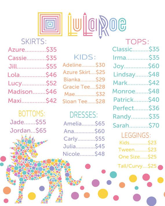 Unicorn LuLaRoe Price List Poster Instant by MichelleRayeDesigns