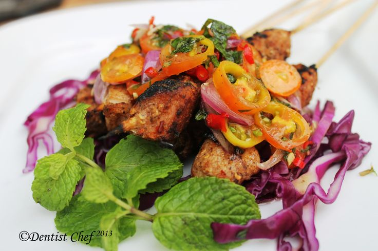 Resep Sate/ Kebab Ayam dengan Salsa Tomat dan Daun Mint serta Saus Thailand Kebab is a wide variety of skewered meals originating in the Middle East and later on adopted in Balkans, the Caucasus ot...