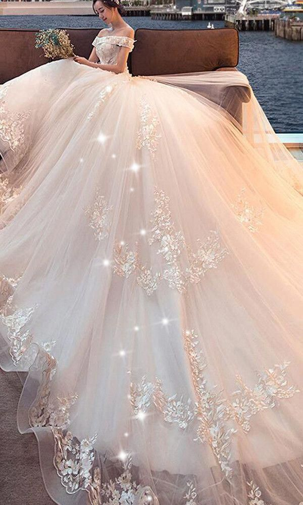 Attractive Tulle Off The Shoulder Neckline Ball Gown Wedding Dress