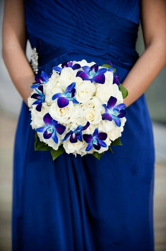 Gorgeous Wedding Bouquet Featuring White Roses Blue Purple Teal Dendrobium Orchids
