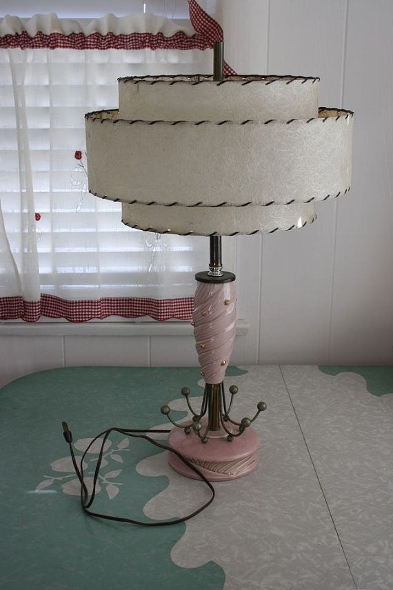 Atomic 1950's Table Lamp with Fiberglass Shade by LRVintage.  It's 50s, and it's pink!  LOVE!