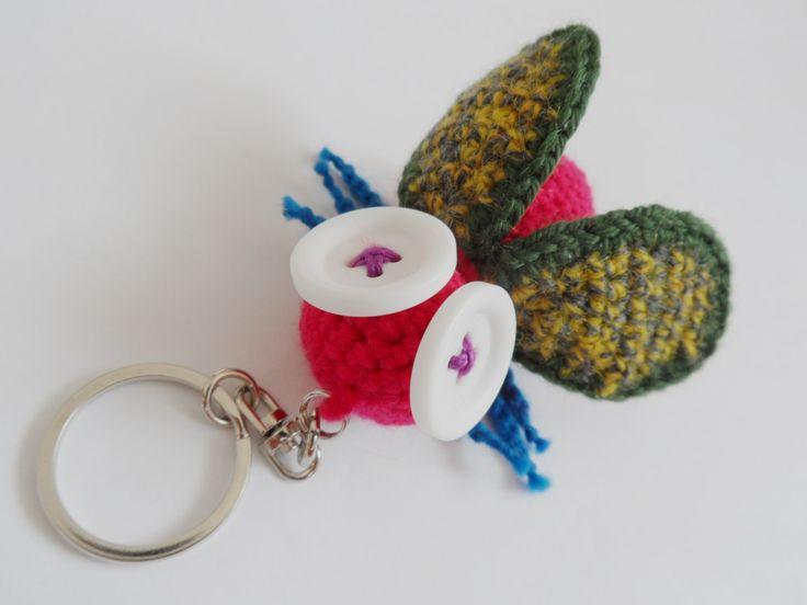 OOAK crochet Keychain fly insect cute keychain pendant purse by LolaFUN on Etsy