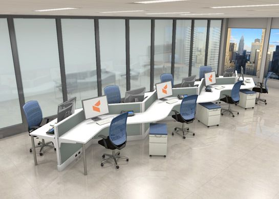 Open Office Workstations on Office Cubicle Layout For 8