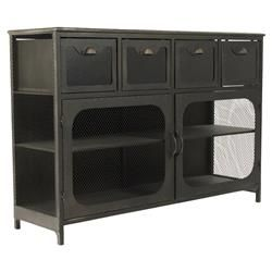 meet your storage and industrial style needs with this cool console cabinet constructed from iron four drawers and a cabinet below with shelving provide