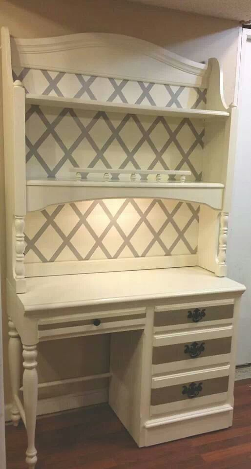 milk white and grayish silver desk with hutch by ugly2vintage, $250.00