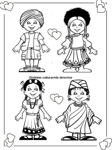 Pinto Dibujos: cute coloring page of children around the world.