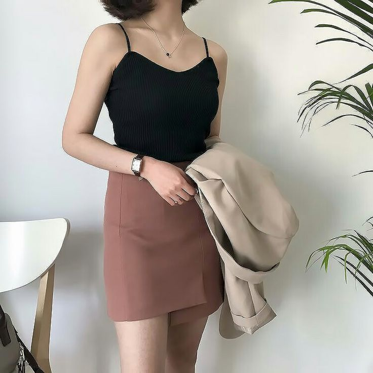 black halter top + beige blazer + maroon short pencil skirt