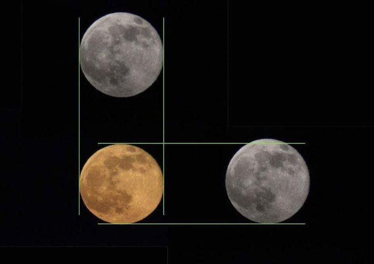 """La NASA propone un truco para acabar con el mito provocado por la """"ilusión lunar""""   La agencia espacial estadounidense explica que cuando está cerca del horizonte la luna tiene una apariencia más """"aplastada"""" por la curvatura terrestre. La atmósfera se comporta como una débil lupa, modificando ligeramente la percepción de tamaño de la luna, además de darle un color más intenso."""