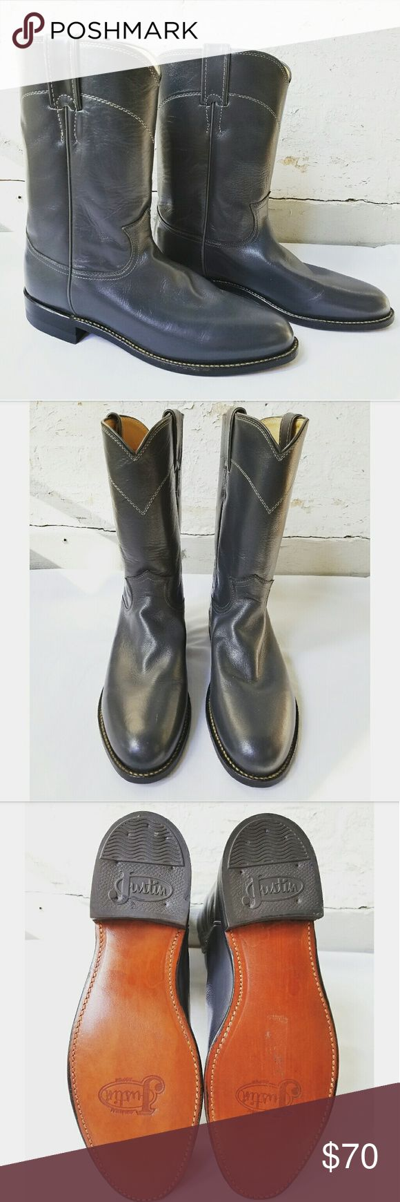 """Gorgeous Vintage Gray Justin Roper Boots Never worn!!! Size 8.5B 1.25"""" heel Leather sole and rubber heel Justin Boots Shoes Heeled Boots"""