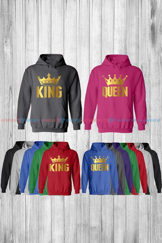 King & Queen Matching Couple Hoodie His and by COUPLESAPPARELcom