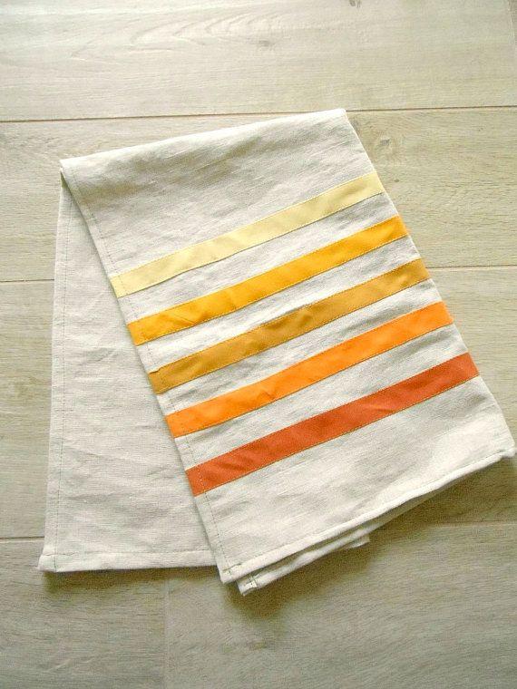 Linen Blend Dish Towel Striped Dish Towel Five Stripes Of Yellow
