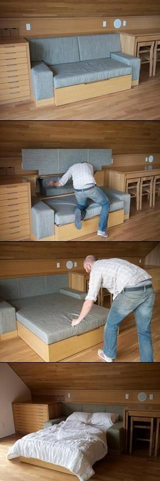 Great hideaway bed/couch design idea that you can use in a cabin, A-frame, or tiny house
