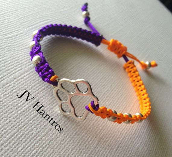 CLEMSON Tigers Game Day Bracelet/Macrame/ Orange and by JVHANTRES, $12.00