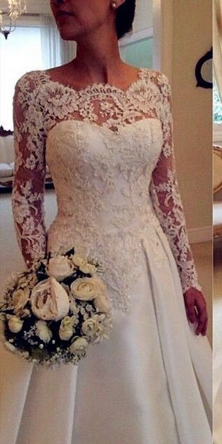 Flor Apliques de Manga Longa Vestidos de Casamento 2016 Vestido De Novia Low Back Lace Vestido De Noiva De Cetim vestido de Noiva Elegante Do Vintage