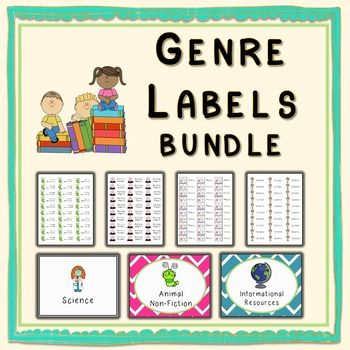 Included in this bundle: Genre labels for the books  Use Avery 8160 or 30 per page equivalentCorresponding tags for book bins  print 2X3 or…