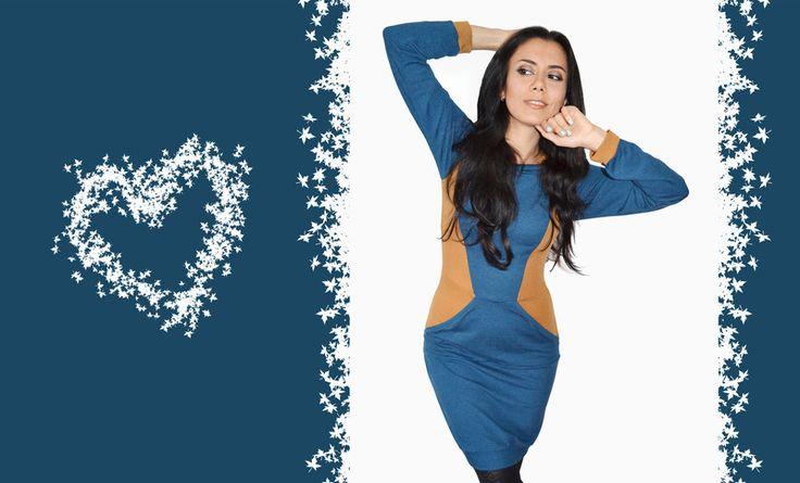 Kapuzenkleider - Kleid mit Kapuze Baumwolle Jersey dunkelblau ocker - ein Designerstück von JAQUEEN-handmade-streetwear-berlin bei DaWanda