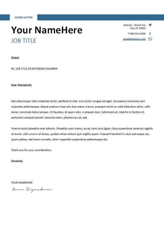 Free Clean And Simple Cover Letter Template For Word (DOCX)   Blue