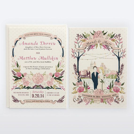From one of my favorite weddings (Mandi + Matt) Custom Illustrated Wedding Invitation by Amy Heitman on Etsy