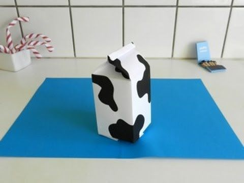 Origami MILK CARTON - made with a4 paper - Published on May 27, 2012 Easy and funny paper milk carton instructions. This model is folded from one standard a4 paper with funny cow-pattern. I have step by step diagrams for this model here: http://joostlangeveldorigami.nl/diagr...