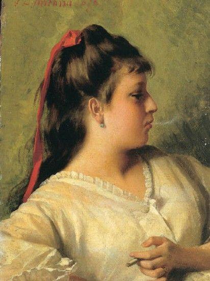 VITO D'ANCONA, DONNA CHE FUMA, 1878, . olio su tela, 29x21. Collezione privata