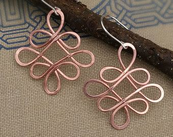 Lazos célticos alambre de cobre pendientes  joyería de nudo