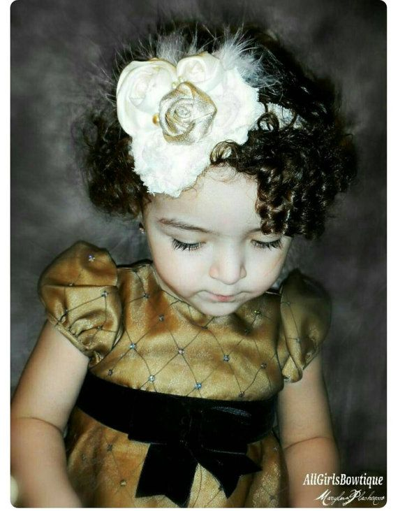 Baby Couture, Girl Headband, Ivory Gold, Shabby Flower, Lace Band Rosette, Gift and Photo Prop