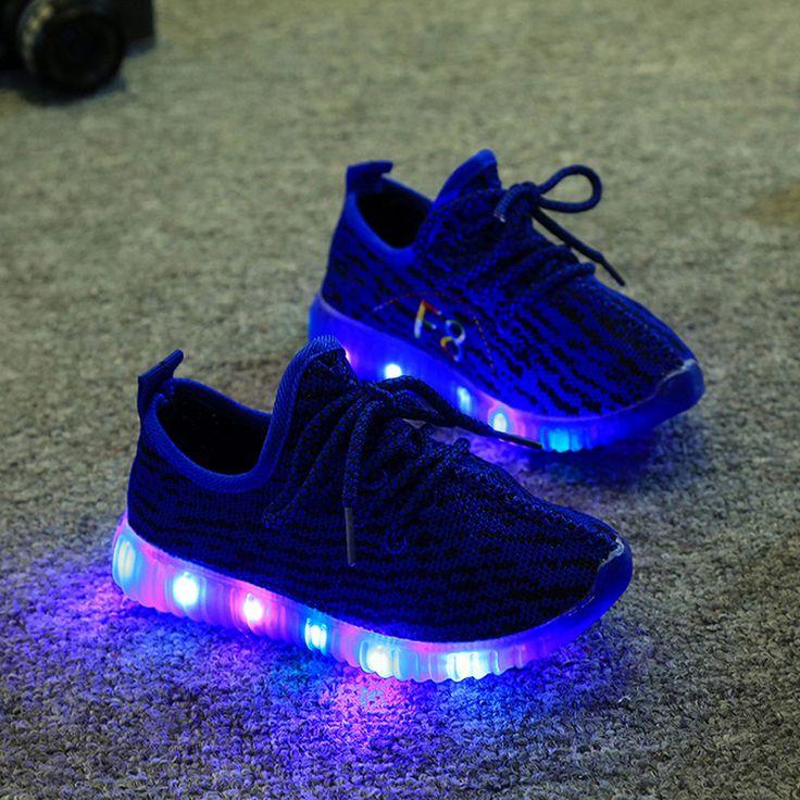 2016 niños shoes for kids light up shoes niños zapatillas de deporte de malla transpirable deporte led adolescente niñas running shoes entrenadores de la escuela