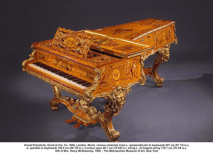 artwork: Grand Pianoforte, Erard et Cie, Ca. 1840, London. Wood, various materials Case L. (perpendicular to keyboard) 247 cm (97 1/4 in.), w. (parallel to keyboard) 149.5 cm (58 7/8 in.), 3-octave span 49.7 cm (19 5/8 in.), string L. of longest string 178.7 cm (70 3/8 in.), Gift of Mrs. Henry McSweeney, 1959. - The Metropolitan Museum of Art, New York