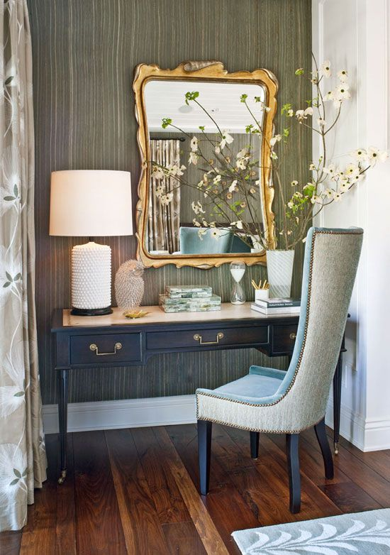 A desk from lawson fenning doubles as a vanity in this master bedroom traditional home nook Vanity for master bedroom