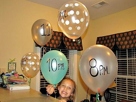 "Sleepover Ideas - Balloons to announce next activity...I'd probably do them as ""I'm bored"" balloons.  If the kids get bored, they can pop a balloon and have to do the activity inside!"