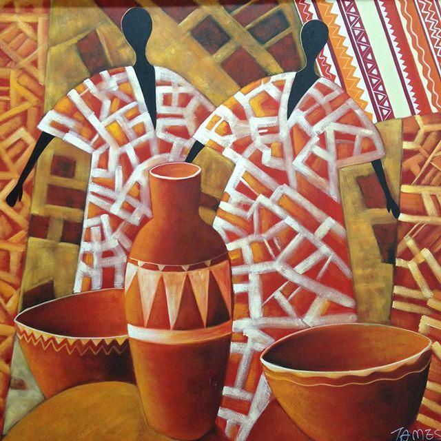 Art, Africa, interior, neutrals, painting, wall décor