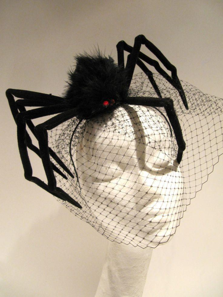 Spider Fascinator_ Halloween Headband- Spider Costume- Birdcage net -Black Fascinator_ Made in USA -halloween costume by doramarra on Etsy https://www.etsy.com/listing/204907191/spider-fascinator-halloween-headband