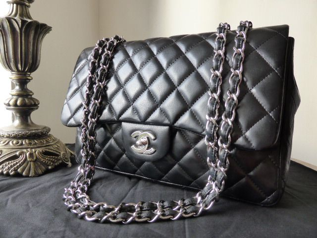 Chanel Jumbo Flap Bag In Black Lambskin With Shiny Silver Hardware Sold Pinterest And