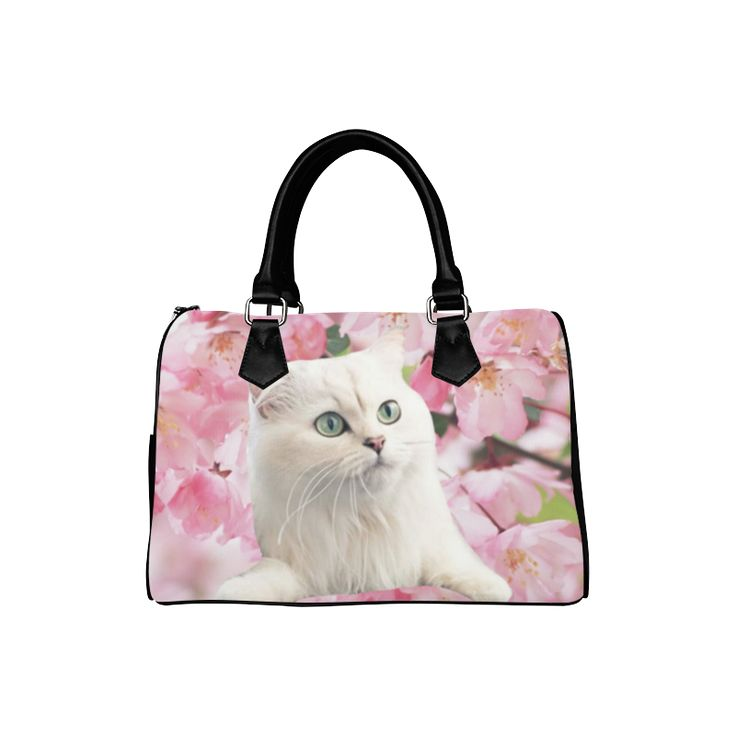 Cat and Flowers Boston Handbag. FREE Shipping. #artsadd #bags #cats