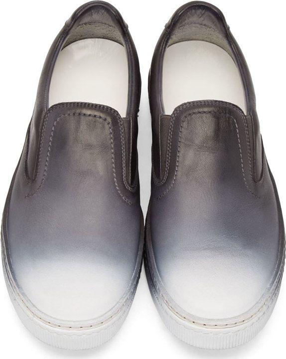 Maison Martin Margiela Black & White Degrade Leather Slip-On Sneakers