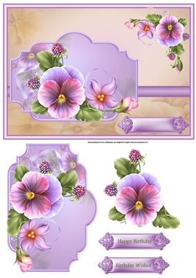 spring pansy card with decoupage on Craftsuprint designed by Angela Wake - spring pansy, lilac pansy pansy card with decoupage and sentiment tags a card for lots of occasions, thank you, get well - Now available for download!