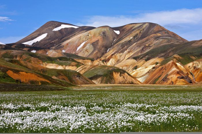 7- You will have the feeling to be at total peace when you hike the Landmannalauger. Since the Landmannalauger consists of many volcanic fields, the different colours are astonishing, especially in contrast to the snow. Other to what you might think, the valleys and plains are covered in beautiful flowers as well as lush grasses. This place will give you the feeling of complete calmness and being one with the nature.