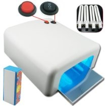 (PMS) 36 Watt UV Gel Nail Lamp Dryer Light Shellac Gelish Timer 36W With 4 x 9W Bulbs+ Nail buffing block Freeshipping
