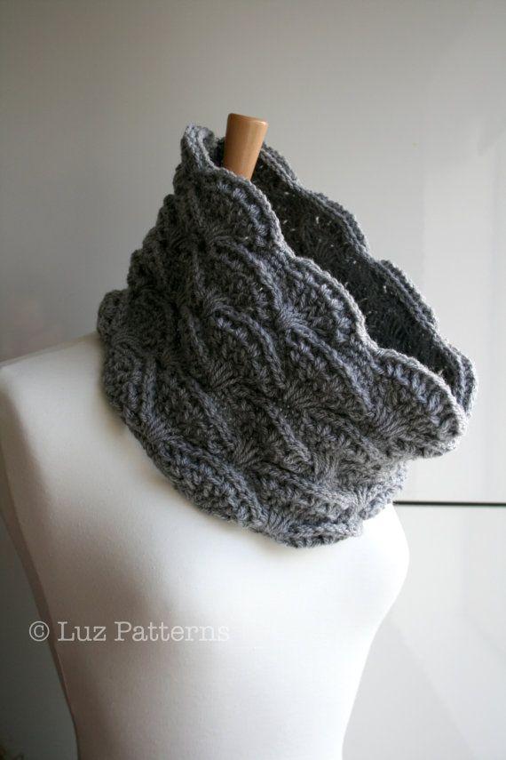 Crochet patterns, girl, women men lace cowl pattern, scarf crochet pattern, crochet cowl pattern by Luz Patterns #crochetpattern #crochet $4.99