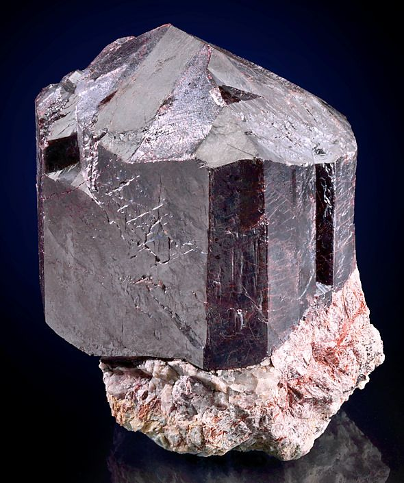 HUGE, exceptional crystal of Rutile sitting atop matrix! From Graves Mountain, Lincoln County, Georgia.  Measures 10 cm by 9 cm by 7.1 cm in total size.  Ex. W. F. Ferrier, Lawrence H. Conklin Mineral Collections