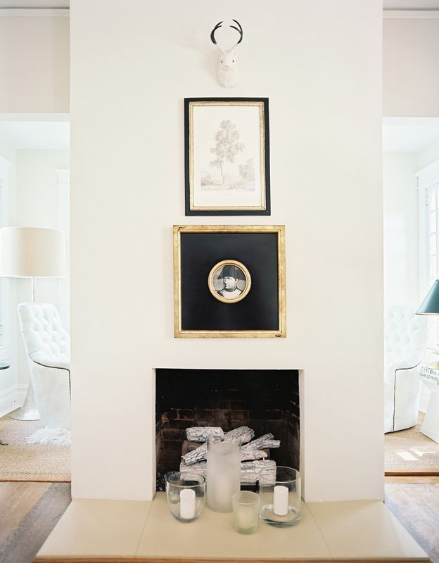 Lonny Magazine Sep/Oct 2011 | Photography by Patrick Cline; Interior Design by Lisa SherryModern Fireplaces, Decor Ideas, Fireplaces Inspiration, Interiors Design, Black White, Fireplaces Wall, House, Frames Art, Lonny Magazine