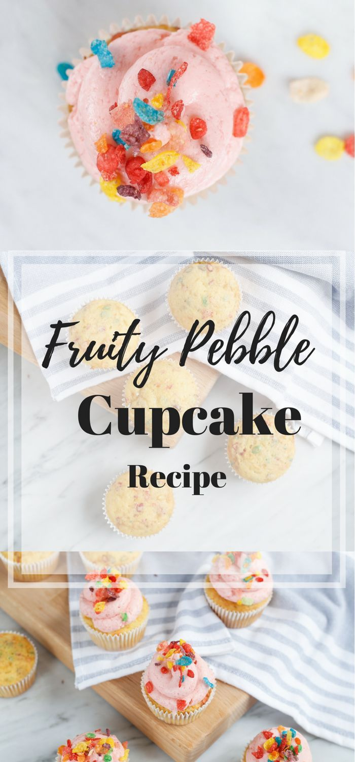 What could be better than mixing your favorite childhood cereal with a cupcake? Nothing? This Fruity Pebble Cupcake recipe takes me right back to childhood!