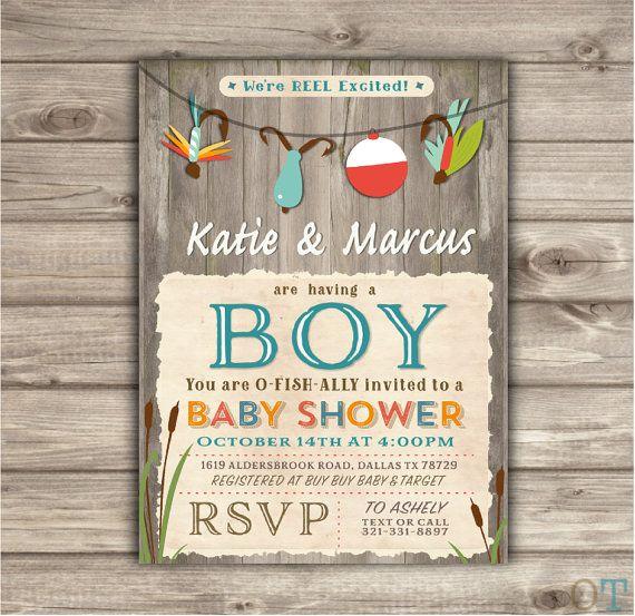 Fishing Baby Shower Invitations We're Reel Excited Printable Chalkboard Tackle Digital Aqua its a boy Rustic Oh Boy Boy Shower NV873