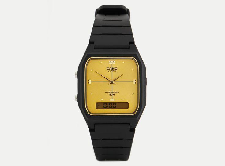 Hodinky Casio AW48HE-9A – pánské a dámské, náramkové, digitální a analogové, černé, ciferník zlaté barvy