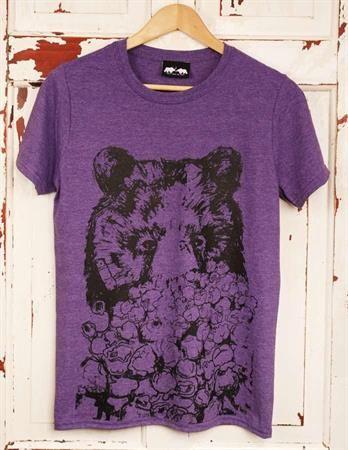 'My Popcorn' purple tee. www.dontfeedthebears.co.uk #popcornbear #popcorn #bears #tshirt #beartshirt