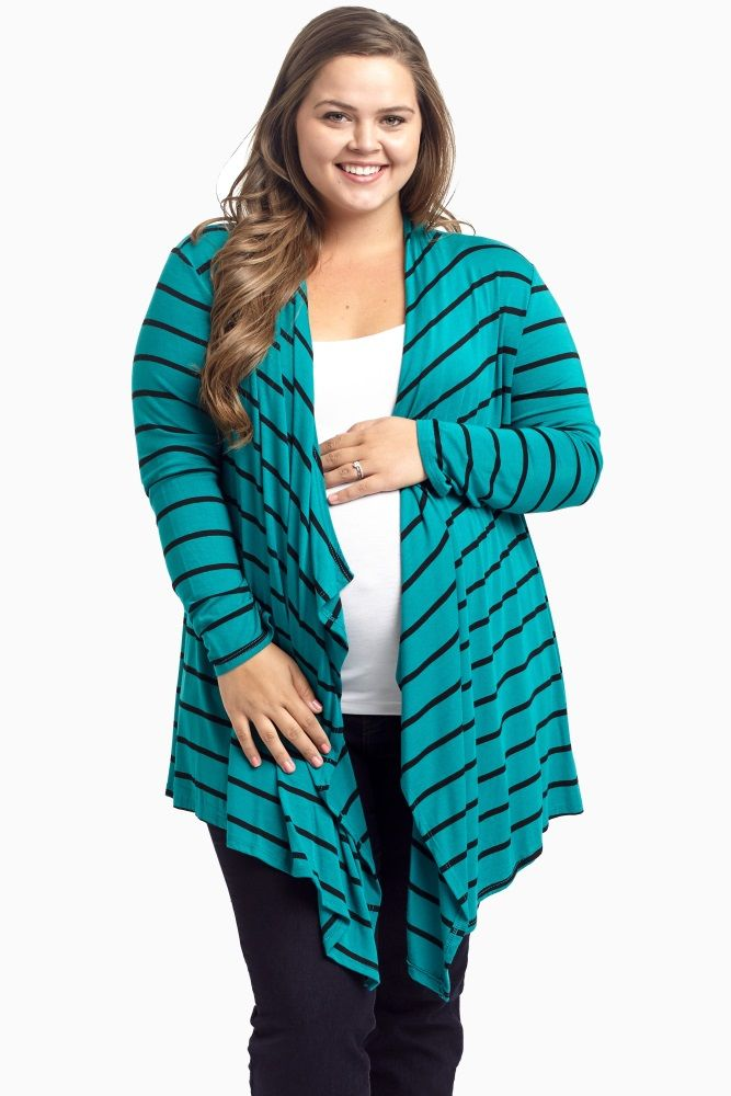 This striped plus maternity cardigan is a perfect essential for this fall season. With a featured button back detail, this plus maternity cardigan will give you the ultimate feminine and chic look. Layer this maternity cardigan over your favorite basic cami or tee and jeans for a complete look!