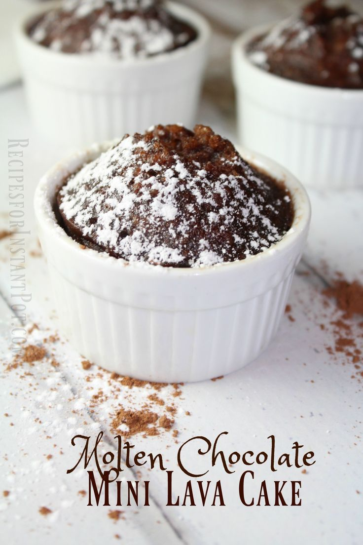 You will fall in love with this easy instant pot recipe for Molten Chocolate Mini Lava Cake! It takes just minutes to whip up in the Instant Pot.
